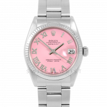 Rolex Datejust 31 6827 Midsize Stainless Steel, Pink Roman Dial, Fluted Bezel on an Oyster Bracelet - Ladies Pre-Owned Non-Quickset Watch