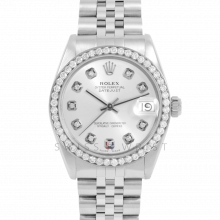 Rolex Datejust 31 6800 Midsize Stainless Steel, Custom Silver Diamond Dial, Diamond Bezel on a Jubilee Bracelet - Ladies Pre-Owned Non-Quickset Watch