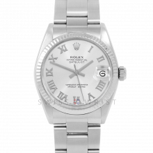Rolex Datejust 31 6827 Midsize Stainless Steel, Silver Roman Dial, Fluted Bezel on an Oyster Bracelet - Ladies Pre-Owned Non-Quickset Watch