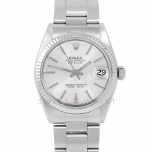 Rolex Datejust 31 6827 Midsize Stainless Steel, Silver Stick Dial, Fluted Bezel on an Oyster Bracelet - Ladies Pre-Owned Non-Quickset Watch