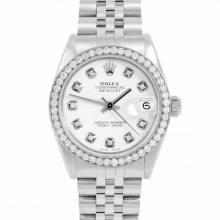 Rolex Datejust 31 6800 Midsize Stainless Steel, Custom White Diamond Dial, Diamond Bezel on a Jubilee Bracelet - Ladies Pre-Owned Non-Quickset Watch