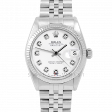 Rolex Datejust 31 6827 Midsize Stainless Steel, Custom White Diamond Dial, Fluted Bezel on a Jubilee Bracelet - Ladies Pre-Owned Non-Quickset Watch