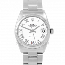 Rolex Datejust 31 6827 Midsize Stainless Steel, White Roman Dial, Fluted Bezel on an Oyster Bracelet - Ladies Pre-Owned Non-Quickset Watch