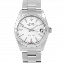 Rolex Datejust 31 6827 Midsize Stainless Steel, White Stick Dial, Fluted Bezel on an Oyster Bracelet - Ladies Pre-Owned Non-Quickset Watch