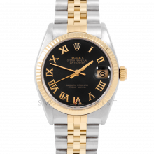 Rolex Datejust 31 6827 Midsize Yellow Gold & Steel, Black Roman Dial, Fluted Bezel on a Jubilee Bracelet - Ladies Pre-Owned Non-Quickset Watch