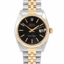 Rolex Datejust 31 6827 Midsize Yellow Gold & Steel, Black Stick Dial, Fluted Bezel on a Jubilee Bracelet - Ladies Pre-Owned Non-Quickset Watch