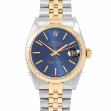 Rolex Datejust 31 6827 Midsize Yellow Gold & Steel, Blue Stick Dial, Fluted Bezel on a Jubilee Bracelet - Ladies Pre-Owned Non-Quickset Watch
