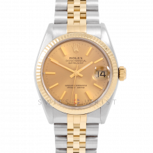 Rolex Datejust 31 6827 Midsize Yellow Gold & Steel, Champagne Stick Dial, Fluted Bezel on a Jubilee Bracelet - Ladies Pre-Owned Non-Quickset Watch