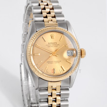 Rolex Datejust 31mm 6827 Yellow Gold & Stainless Steel w/ Champagne Stick Dial & Fluted Bezel on Jubilee Bracelet - Ladies Pre-Owned