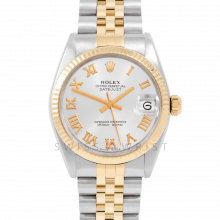 Rolex Datejust 31 6827 Midsize Yellow Gold & Steel, Silver Roman Dial, Fluted Bezel on a Jubilee Bracelet - Ladies Pre-Owned Non-Quickset Watch