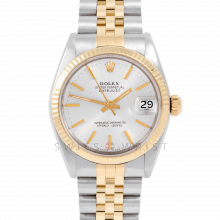 Rolex Datejust 31 6827 Midsize Yellow Gold & Steel, Silver Stick Dial, Fluted Bezel on a Jubilee Bracelet - Ladies Pre-Owned Non-Quickset Watch