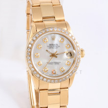 Rolex Datejust 31mm 6827 Yellow Gold w/ Mother of Pearl Diamond Dial & Diamond Bezel on Oyster Bracelet -Ladies Pre-Owned
