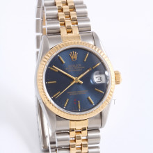 Rolex 68273 Ladies Datejust 31mm Yellow Gold & Stainless Steel w/ Blue Stick Dial and Fluted Bezel with Jubilee Bracelet - Pre Owned