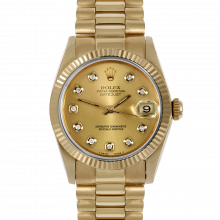 Pre-owned Rolex Midsize Yellow Gold President Watch - with Custom Champagne Diamond Dial - Fluted Bezel