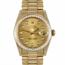 Pre-owned Rolex Midsize Yellow Gold President Watch - with Custom Champagne Diamond Dial - Diamond Bezel