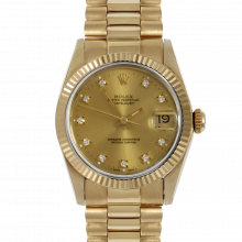 Pre-owned Rolex Midsize Yellow Gold President Watch - Factory Champagne Diamond Dial - Fluted Bezel