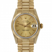 Pre-owned Rolex Midsize Yellow Gold President Watch - Champagne Stick Marker Dial - Fluted Bezel