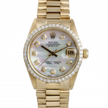 Pre-owned Rolex Midsize Yellow Gold President Watch - with Custom Mother Of Pearl Diamond Dial - Diamond Bezel