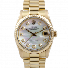 Pre-owned Rolex Midsize Yellow Gold President Watch - with Custom Mother Of Pearl Diamond Dial - Fluted Bezel