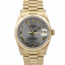 Pre-owned Rolex Midsize Watch - Yellow Gold President Slate Roman Marker Dial - Fluted Bezel