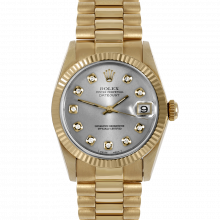Pre-owned Rolex Midsize Yellow Gold President Watch - with Custom Silver Diamond Dial - Fluted Bezel