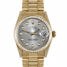 Pre-owned Rolex Midsize Yellow Gold President Watch - with Custom Silver Diamond Dial & Diamond Bezel