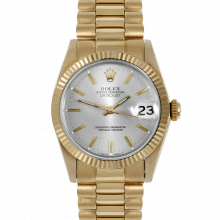 Pre-owned Rolex Midsize Watch - Yellow Gold President Silver Stick Marker Dial - Fluted Bezel