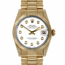 Pre-owned Rolex Midsize Yellow Gold President Watch - with Custom White Diamond Dial - Fluted Bezel