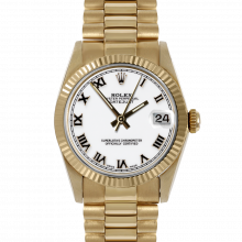 Pre-owned Rolex Midsize Watch - Yellow Gold President White Roman Marker Dial - Fluted Bezel