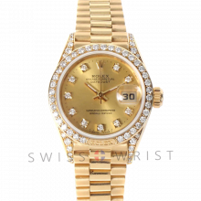 Pre-Owned Rolex Ladies Crown Collection 18K Yellow Gold President Watch - 69158 Factory Champagne Diamond Dial with Rolex Factory Diamond Bezel & Lugs