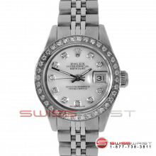 Rolex Ladies Quickset Datejust Stainless Steel Mother Of Pearl Diamond Dial & Diamond Bezel On A Jubilee Band 69160 Model