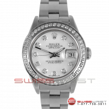 Rolex Ladies Quickset Datejust Stainless Steel Mother Of Pearl Diamond Dial & Diamond Bezel On An Oyster Band 69160 Model