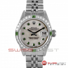 Rolex Ladies Quickset Datejust Stainless Steel With A White Mother Of Pearl Emerald Dial - Diamond Bezel On A Jubilee Band Model 69160