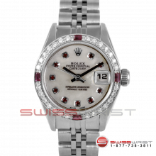 Rolex Ladies Quickset Datejust Stainless Steel With A White Mother Of Pearl Ruby Dial - Diamond Bezel On A Jubilee Band Model 69160