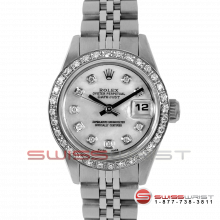 Rolex Ladies Quickset Datejust Stainless Steel With A Mother Of Pearl Roman Dial - Diamond Bezel On A Jubilee Band Model 69160