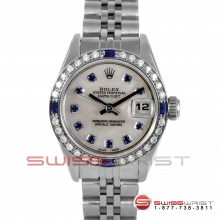 Rolex Ladies Quickset Datejust Stainless Steel With A White Mother Of Pearl Sapphire Dial - Diamond Bezel On A Jubilee Band Model 69160