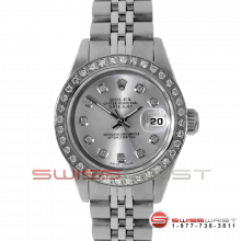 Rolex Ladies Quickset Datejust Stainless Steel Silver Diamond Dial & Diamond Bezel On A Jubilee Band 69160 Model