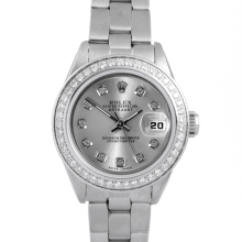 Pre-owned Rolex Ladies Quickset Datejust Stainless Steel Watch - Silver Diamond Dial & Diamond Bezel On An Oyster Band 69160 Model