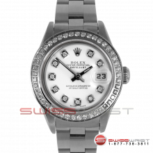 Rolex Ladies Quickset Datejust Stainless Steel White Diamond Dial & Diamond Bezel On An Oyster Band 69160 Model