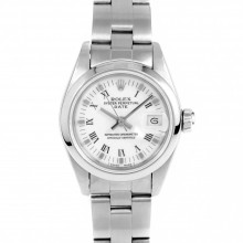 Rolex 69160 Ladies 26mm Stainless Steel w/ White Roman Dial and Smooth Bezel with Oyster Bracelet - Pre-Owned