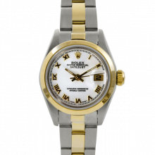 Rolex Datejust 69163 - White Roman Dial - 18K Yellow Gold & Stainless Steel - Diamond Bezel On A Oyster Band - Pre-Owned
