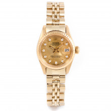 Rolex Datejust 26mm 6917 Yellow Gold w/ Champagne Diamond Dial & Fluted Bezel with Jubilee Bracelet - Ladies Pre-Owned Watch