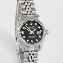 Rolex Datejust 26mm 6917 Stainless Steel w/ Black Diamond Dial & Fluted Bezel with Jubilee Bracelet - Ladies Pre-Owned Watch w/ Box & Papers