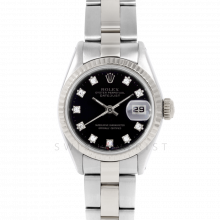 Rolex Datejust 6917 Factory Black Diamond Dial - Stainless Steel - White Gold Fluted Bezel On A Oyster Band - Pre-Owned