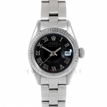 Rolex Datejust 26 6917 White Gold & Stainless Steel, Black Roman, Fluted Bezel On An Oyster Bracelet - Ladies Pre-Owned Watch
