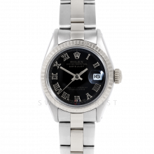 Rolex Datejust 6917 Black Roman Dial - Stainless Steel - White Gold Fluted Bezel On A Oyster Band - Pre-Owned
