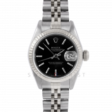 Rolex Datejust 26 6917 White Gold & Stainless Steel, Black Stick, Fluted Bezel On A Jubilee Bracelet - Ladies Pre-Owned Watch