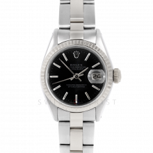 Rolex Datejust 26 6917 White Gold & Stainless Steel, Black Stick, Fluted Bezel On An Oyster Bracelet - Ladies Pre-Owned Watch
