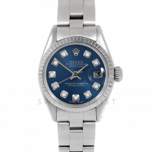 Rolex Datejust 26 6917 White Gold & Stainless Steel, Custom Blue Diamond, Fluted Bezel On An Oyster Bracelet - Ladies Pre-Owned Watch