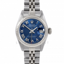 Rolex Datejust 26 6917 White Gold & Stainless Steel, Blue Roman, Fluted Bezel On A Jubilee Bracelet - Ladies Pre-Owned Watch